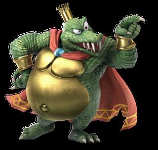 Imagen del King K. Rool,  el cocodrilo archienemigo de DK en Donkey Country. Imagen procedente del videojuego de lucha de Nintendo, Super Smash Bros. Ultimate