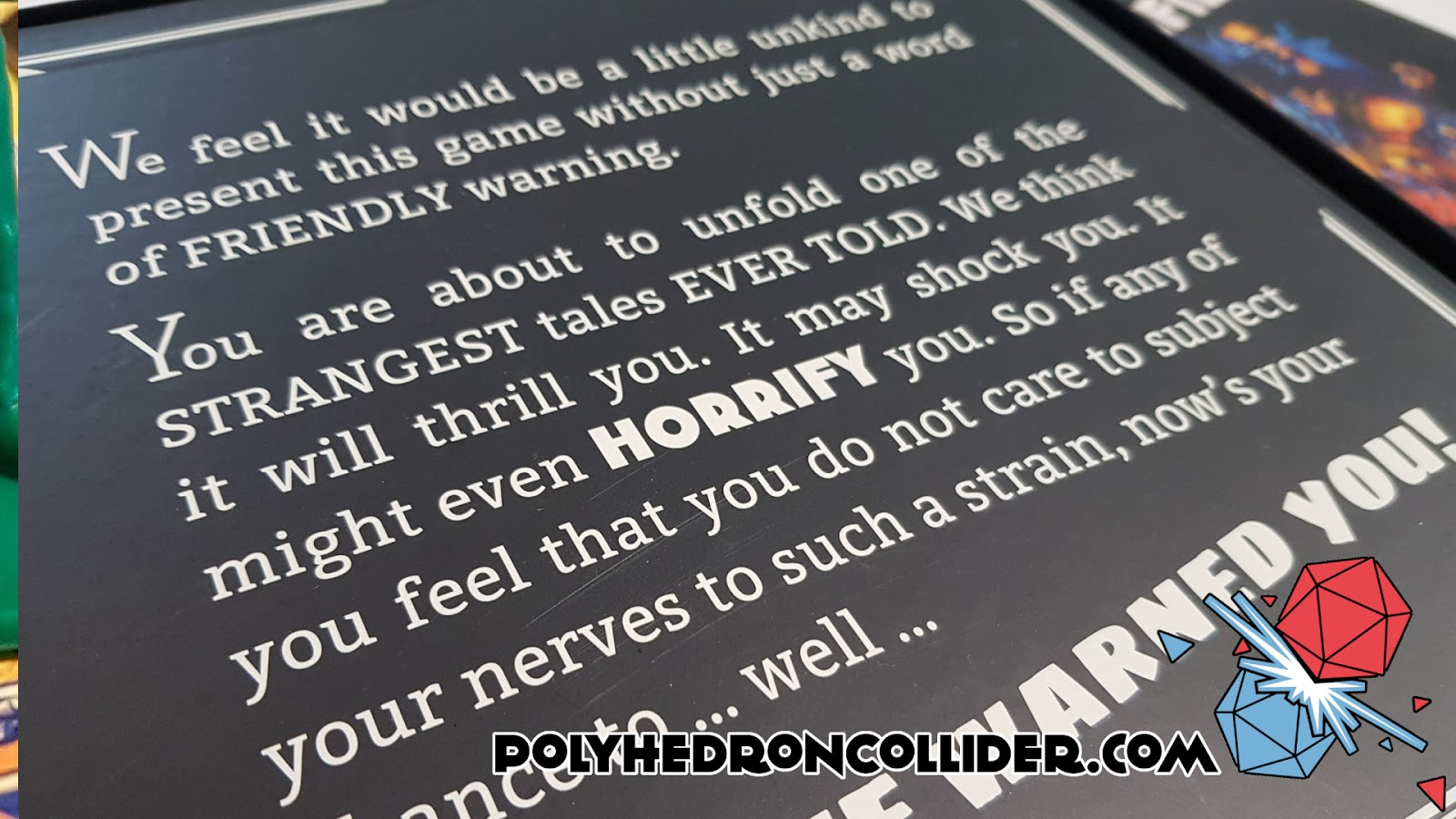 Polyhedron Collider Horrified Board Game Review - Warning