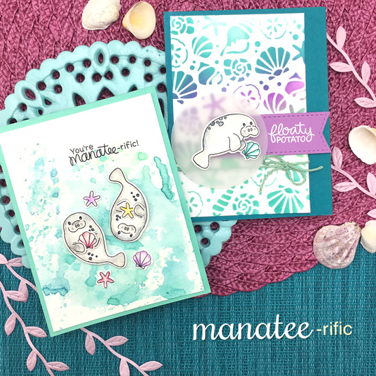 Manatee Cards by Jennifer Jackson | Manatee-rific Stamp Set and Seashells Stencil by Newton's Nook Designs #newtonsnook #handmade