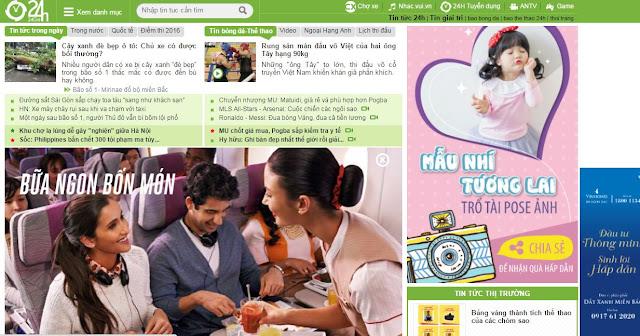 Booking quảng cáo bài Banner báo 24h.com.vn| BVAD| 0908 51