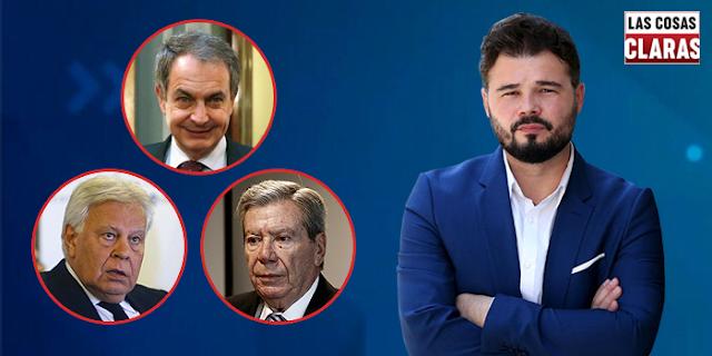 Rufián, Zapatero, González y Corcuera