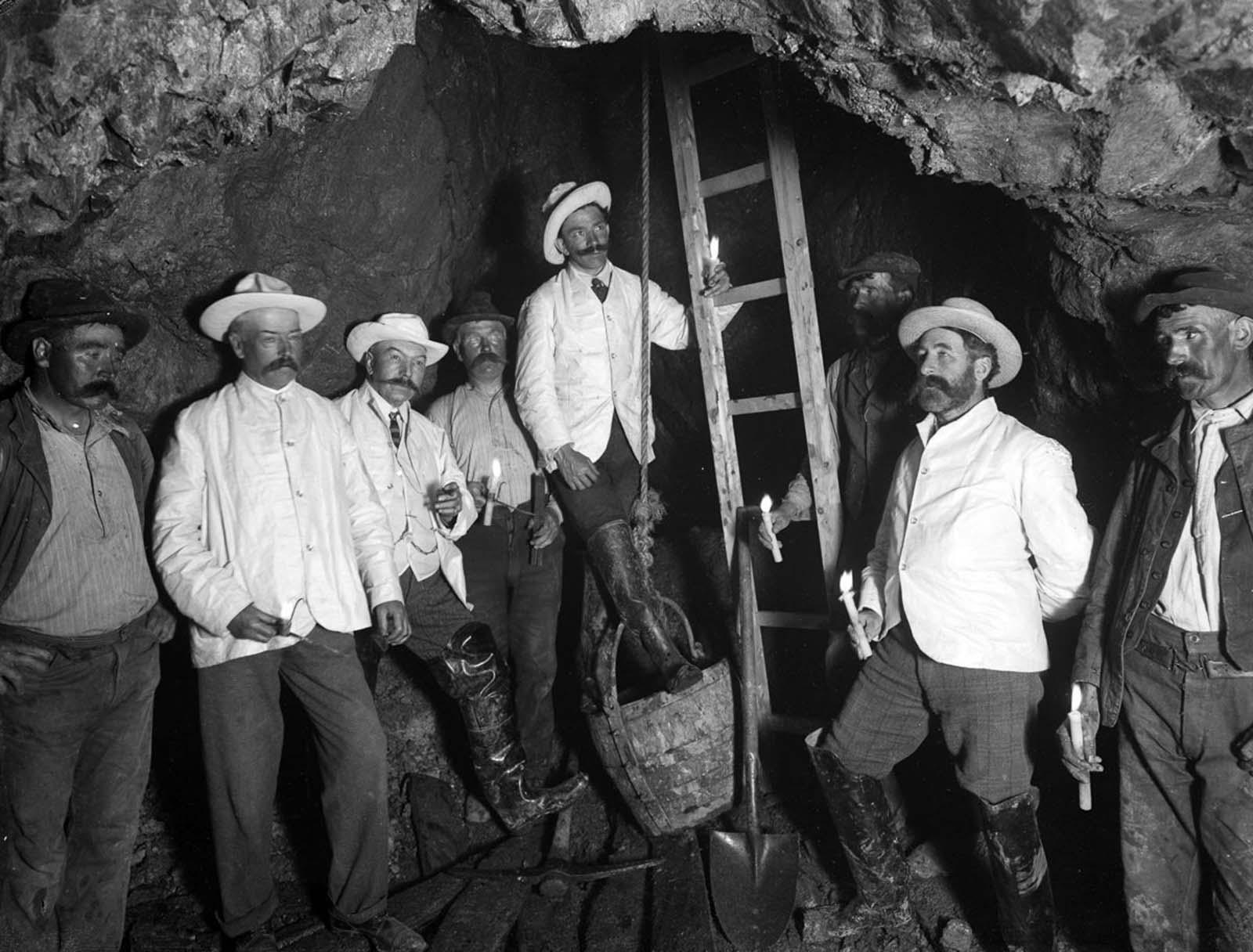 Inside the Bonmahon Mines. 1906.