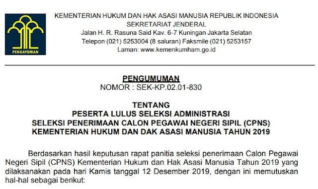 Pengumuman Hasil Seleksi Administrasi CPNS Tahun 2019 Kementerian Hukum dan Hak Asasi Manusia