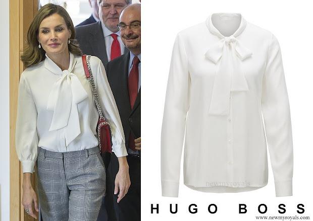 Queen Letizia wore Hugo Boss Bibosa silk bow blouse