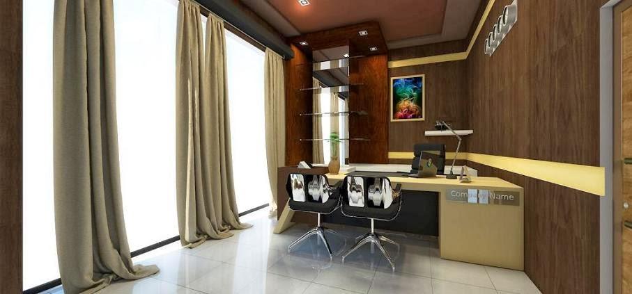Ruang+Direktur++backwall+kayu+coklat