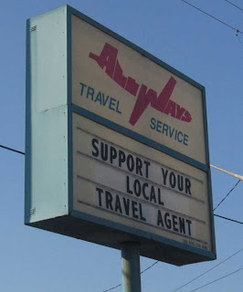 ALLWAYS Travel Agency sign with the word ALLWAYS made into an airplane