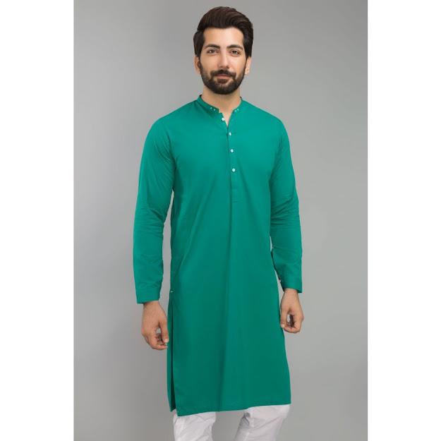 Gul Ahmed Men's Eid collection Green color kurta