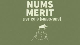 NUMS merit list 2019 official along with bsd merit list