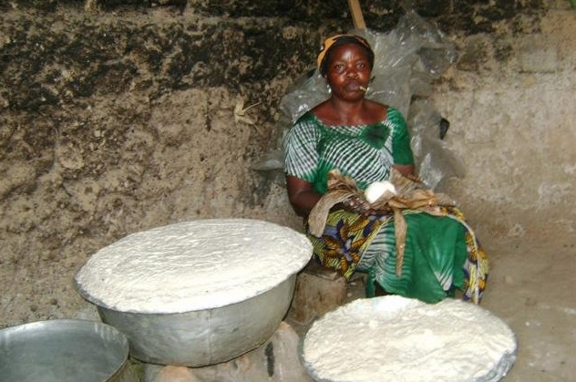 Making African Botswana dumpling dough