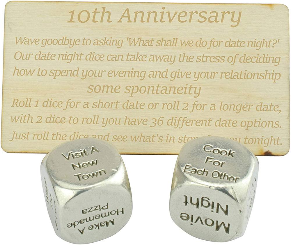 tin date night dice 10th wedding anniversary gift idea