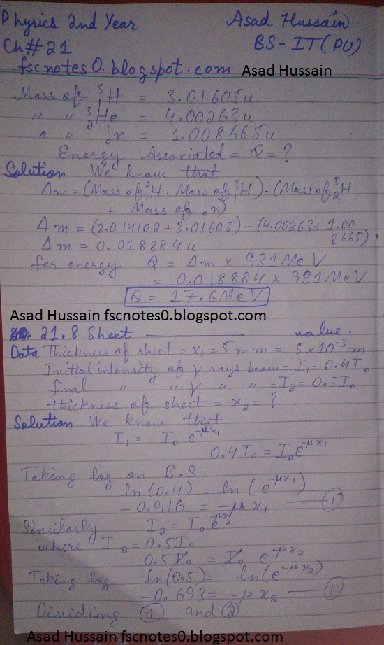 F.Sc ICS Notes: Physics XII: Chapter 21 Nuclear Physics Numerical Problems Asad Hussain 3