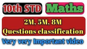 10th STD Maths Question Classification all units