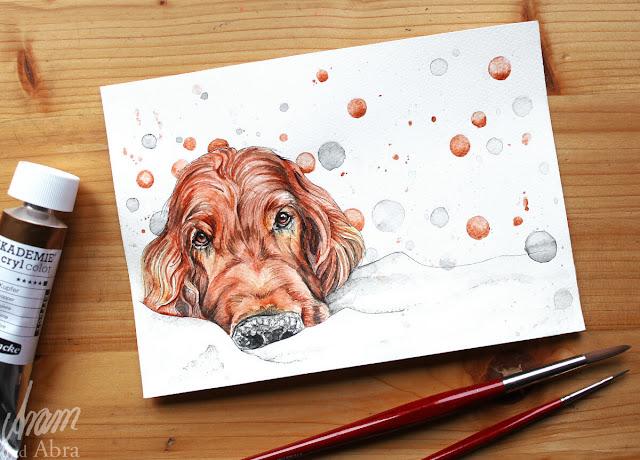 Irish Setter Flynn vom Blog Hundebloghaus, Aquarell und Acryl nach Fotovorlage, DIN A5