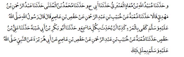 shahih muslim larangan menceritakan semua yang didengar