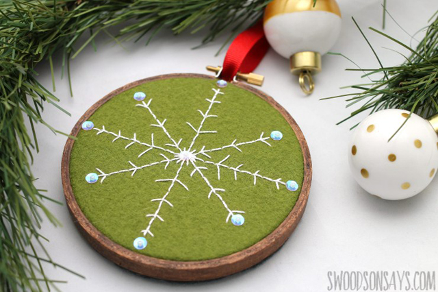 Learn how to make an embroidered felt snowflake ornament. Free tutorial and pattern by Swoodson Says