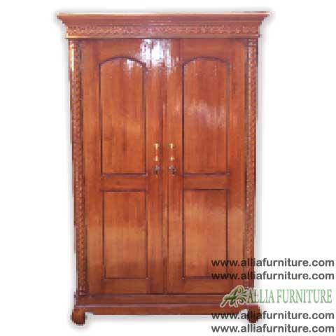 lemari baju kayu jati 2 pintu kecil