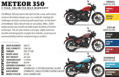 Royal Enfield Meteor 350 specifications.