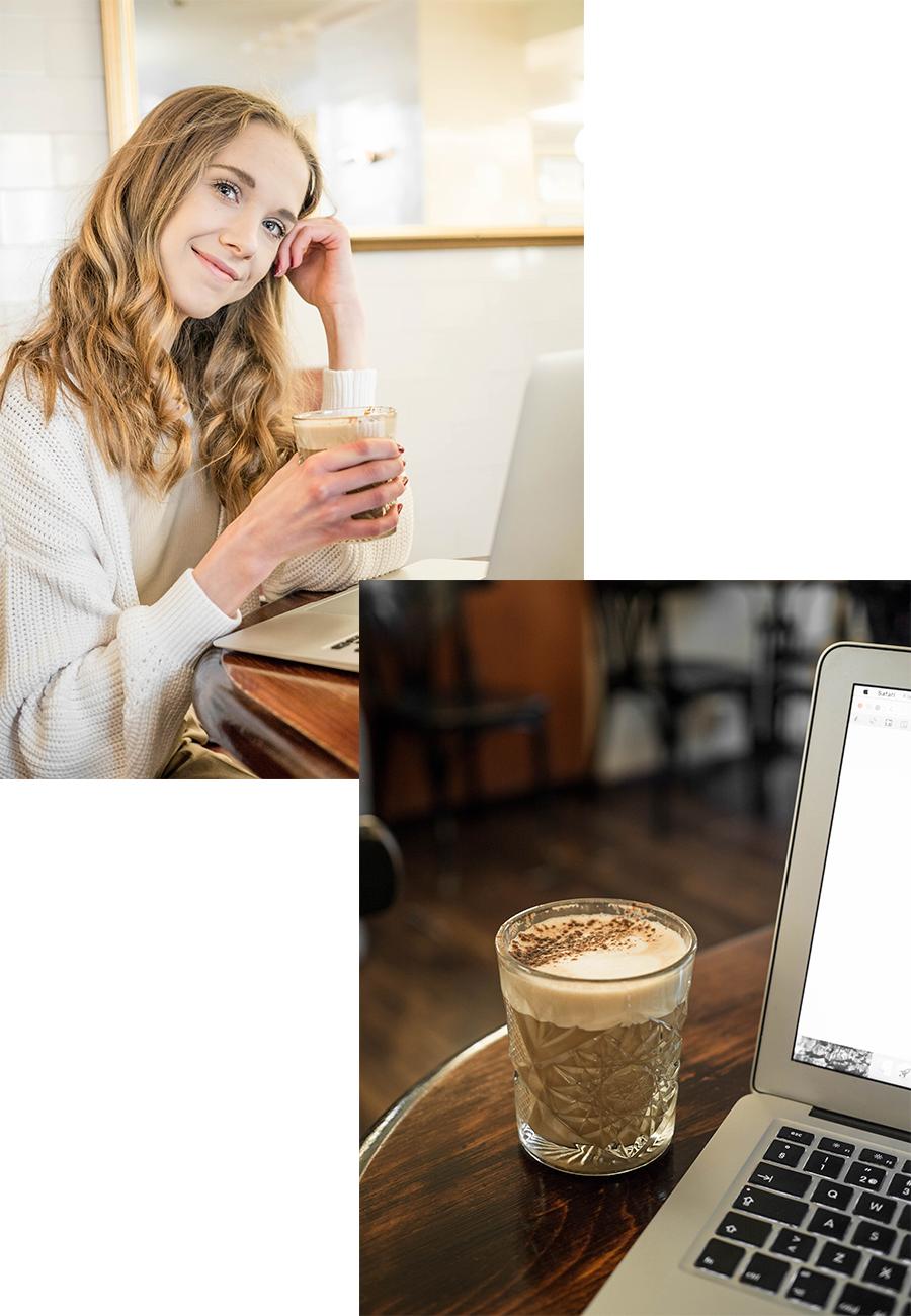 Nainen juomassa kahvia kahvilassa // Woman drinking coffee in a coffee shop