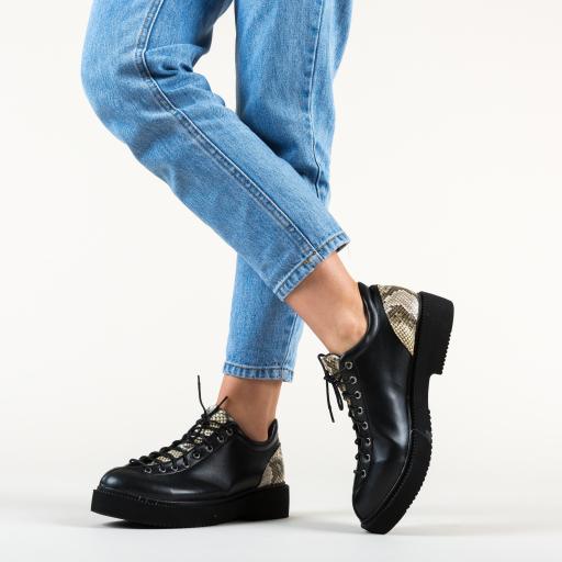 Pantofi casual negri cu print cu piele de sarpe gri