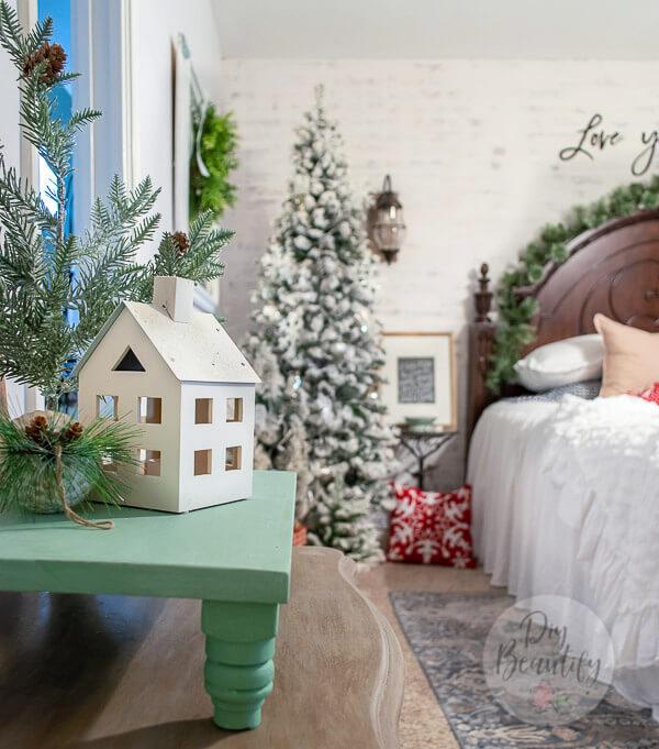 cozy vignette in Christmas bedroom