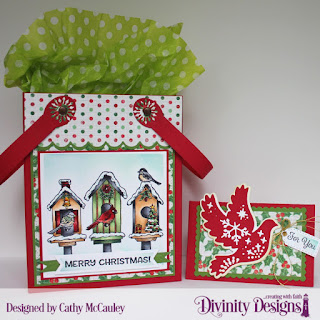 Stamp set:  Christmas Birdhouses, Treat Tag Sentiments 3, Paper Collection: Holly Jolly Christmas, Custom Dies:  Card Caddy And Gift Bag, Gift Bag Handles & Topper, Christmas Dove, Pennant Flags, Double Stitched Pennant Flags, Squares, Pierced Rectangles,Gift Card Holder, Christmas Dove, Treat Tags, Rectangles, Scalloped Rectangles