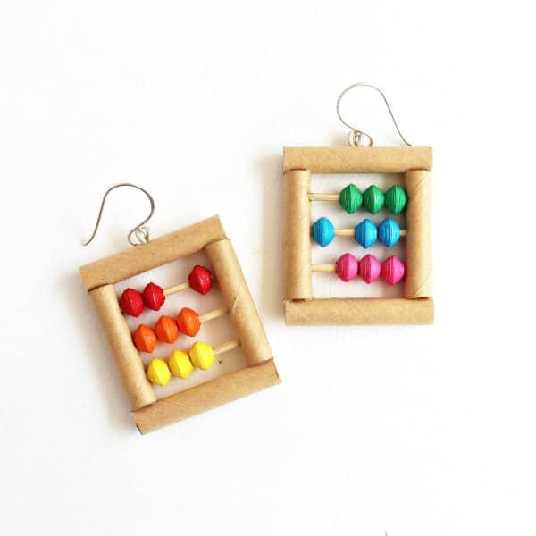 playful mini-abacus paper bead earrings