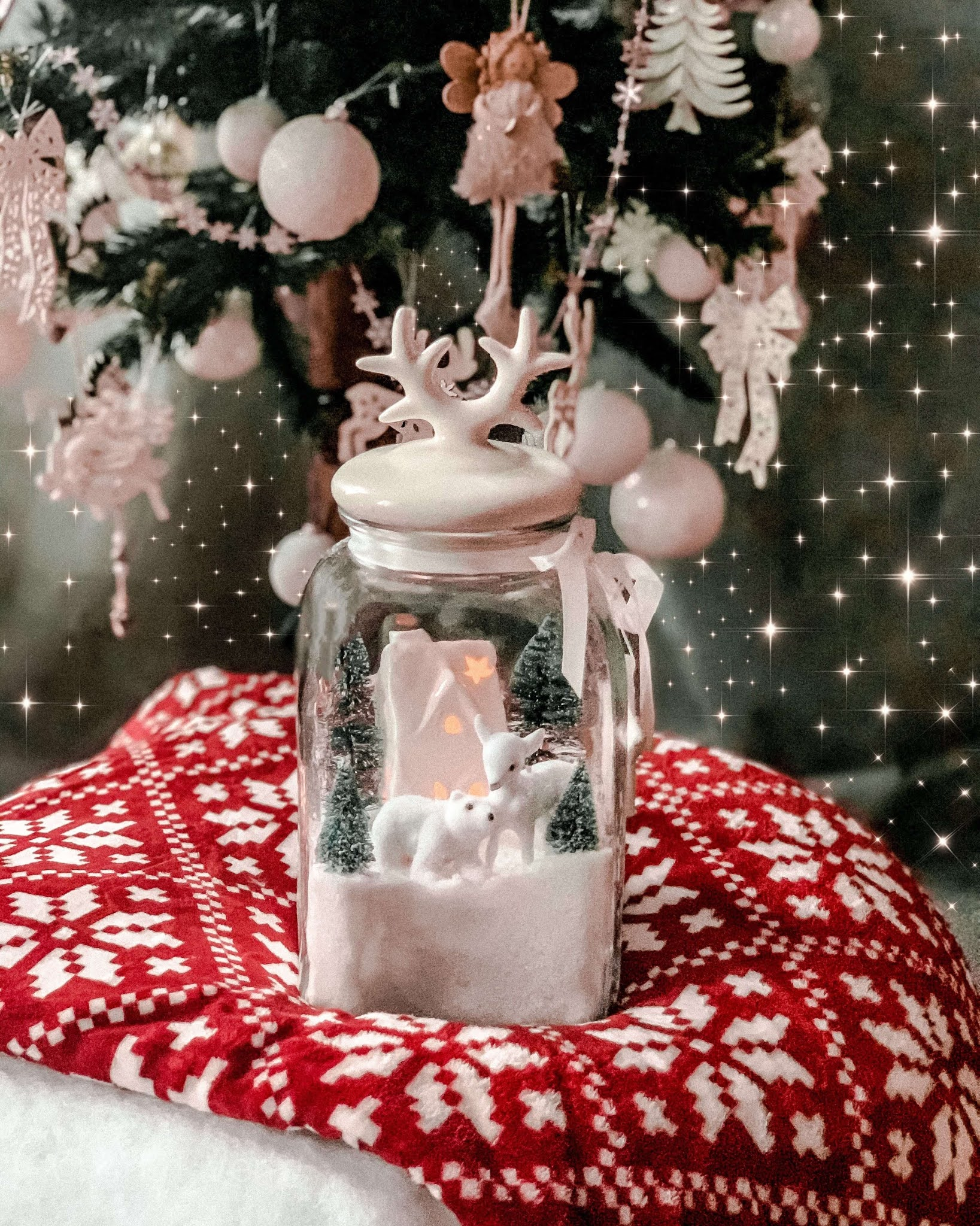 Christmas DIY, słój szklany z Pepco z zimową scenką, 10 Blogmas