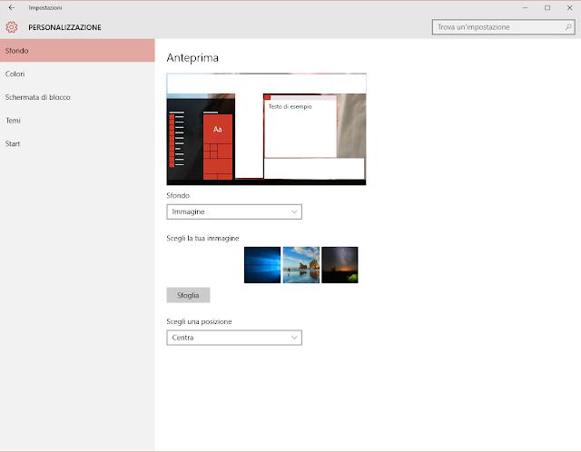 Come cambiare sfondo in Windows 10