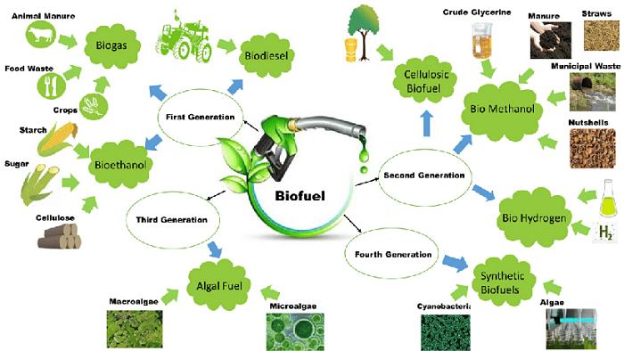 Esquema de las generaciones de biocarburantes