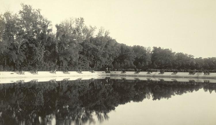 A view across the Manash-Sarovar Tank towards the Dilkusha Gardens - Burdwan (Bardhaman), Bengal, 1904