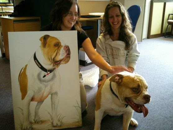 Bulldog pet portraits and oil paintings make a perfect gift.