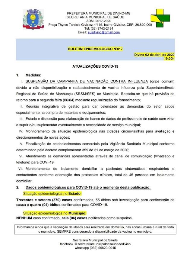 Boletim Epidemiológico 02/04/20: Divino tem 06 casos sob investigação e nenhum confirmado