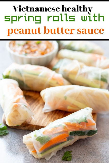Vietnamese healthy spring rolls with peanut butter sauce #Vietnamese #healthy #spring #rolls #with #peanut #butter #sauce Healthy Recipes Easy, Healthy Recipes Dinner, Healthy Recipes Best,