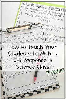 Free graphic organizer and student writing formula sheet to help you easily implement the CER strategy into your middle school science class