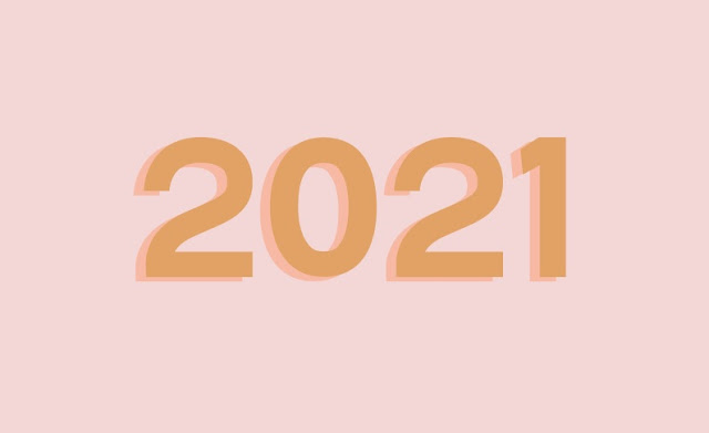 Pale pink background with 2021 in the centre