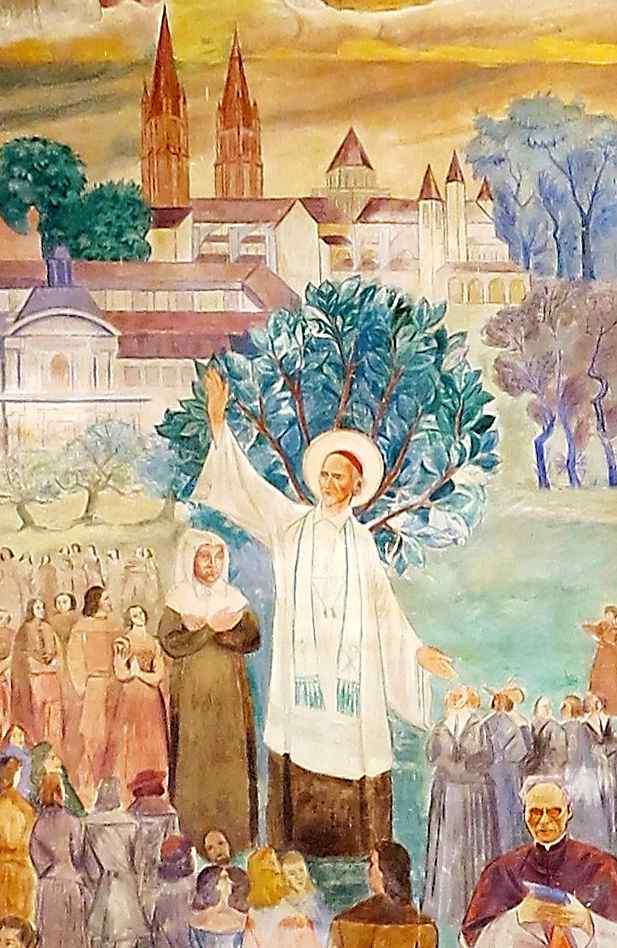 Marie des Vallées ouve pregação de São João Eudes, afresco en Caen, França