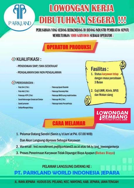 Lowongan Kerja Operator Produksi Parkland Wolrd Indonesia Jepara