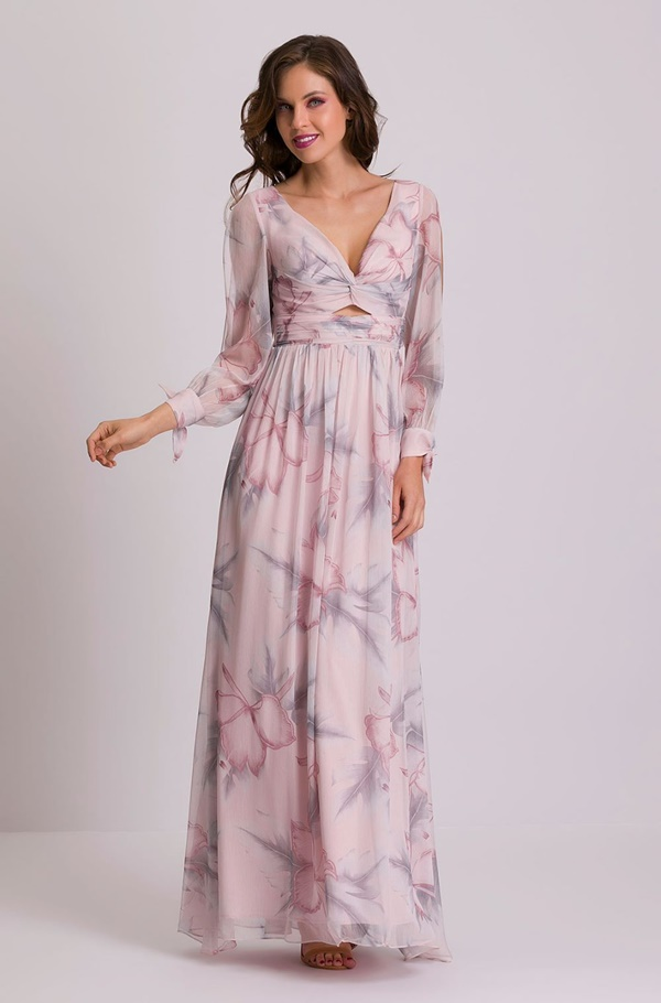 vestido longo rosa estampado para madrinha de casamento