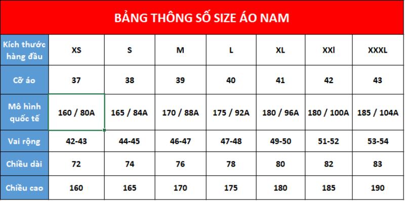 Bảng size áo sơ mi nam theo số đo cơ thể