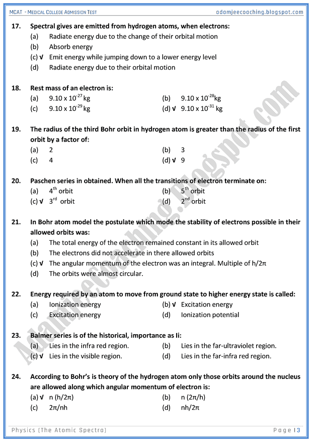 mcat-physics-the-atomic-spectra-mcqs-for-medical-entry-test