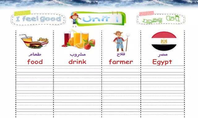 مذكرة تسميع لغة انجليزية للصف الرابع الابتدائي الترم الاول