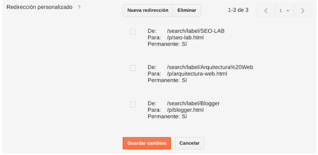 Redirecciones en blogger de tags a pages