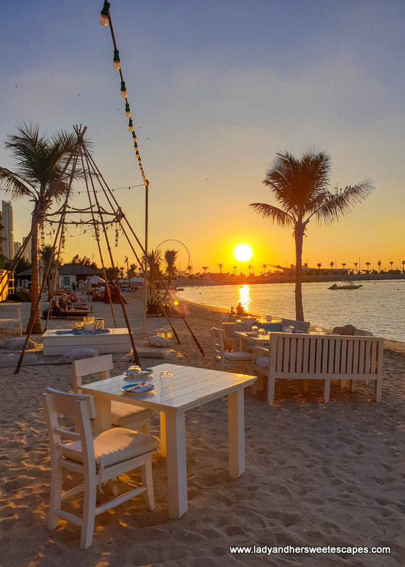 golden hour in Fish Beach Taverna Dubai