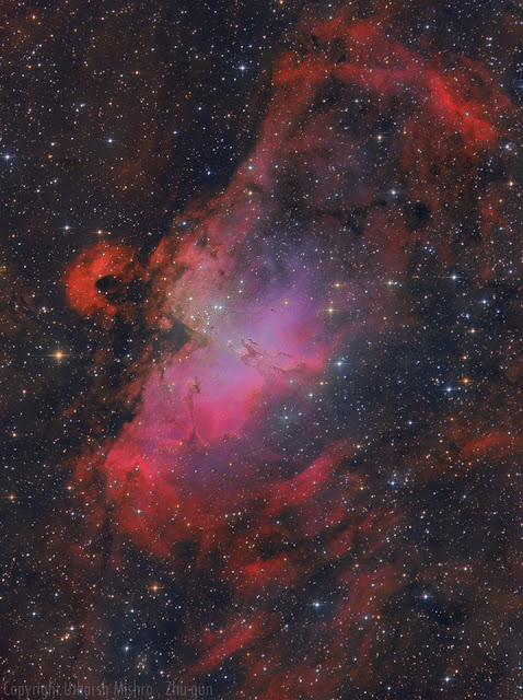 Messier 16, the Eagle Nebula imaged by Utkarsh Mishra and Zhuoqun Wu. 10 300-second Luminance, 14 300-second Red, 11 300-second Green and 10 300-second Blue frames taken from ATEO-1 along with 50-Minutes of H-Alpha data acquired from Chilescope.
