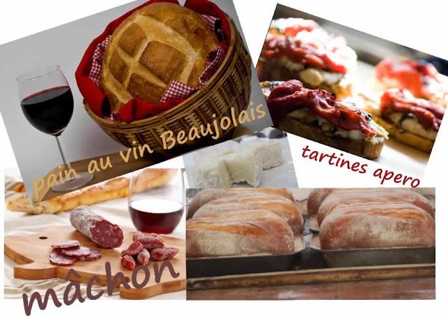 Pain rustique, terroir du Beaujolais, vin, châtaignes, miel, huile de noisettes