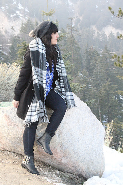 Big Bear Mountain Blanket Scarf and Boots Winter Outfit Inspiration