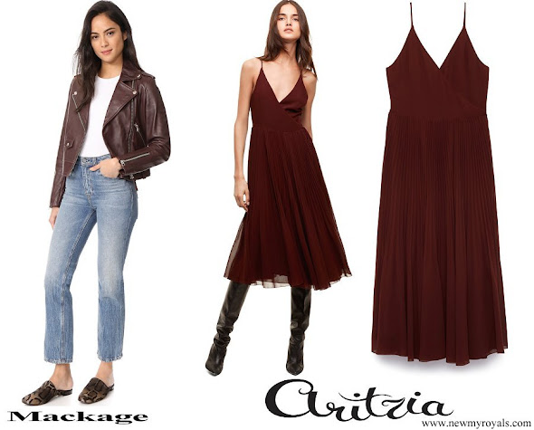 Meghan Markle wore Mackage Baya Leather Jacket and Aritzia Beaune Dress