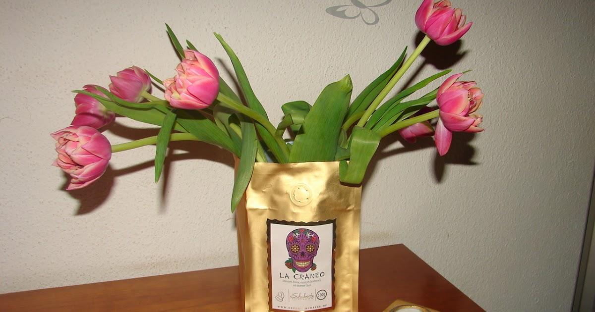 Bodenseegarten: Tulpen in der Kaffeetüte und mein Wochenendstrauß