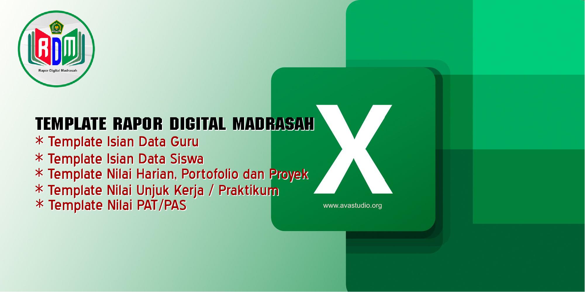 [Excel] Template Excel Isian Rapot Digital Madrasah (RDM) Tahun 2021