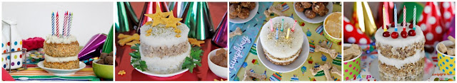 A variety of homemade dog birthday cakes with different decorations
